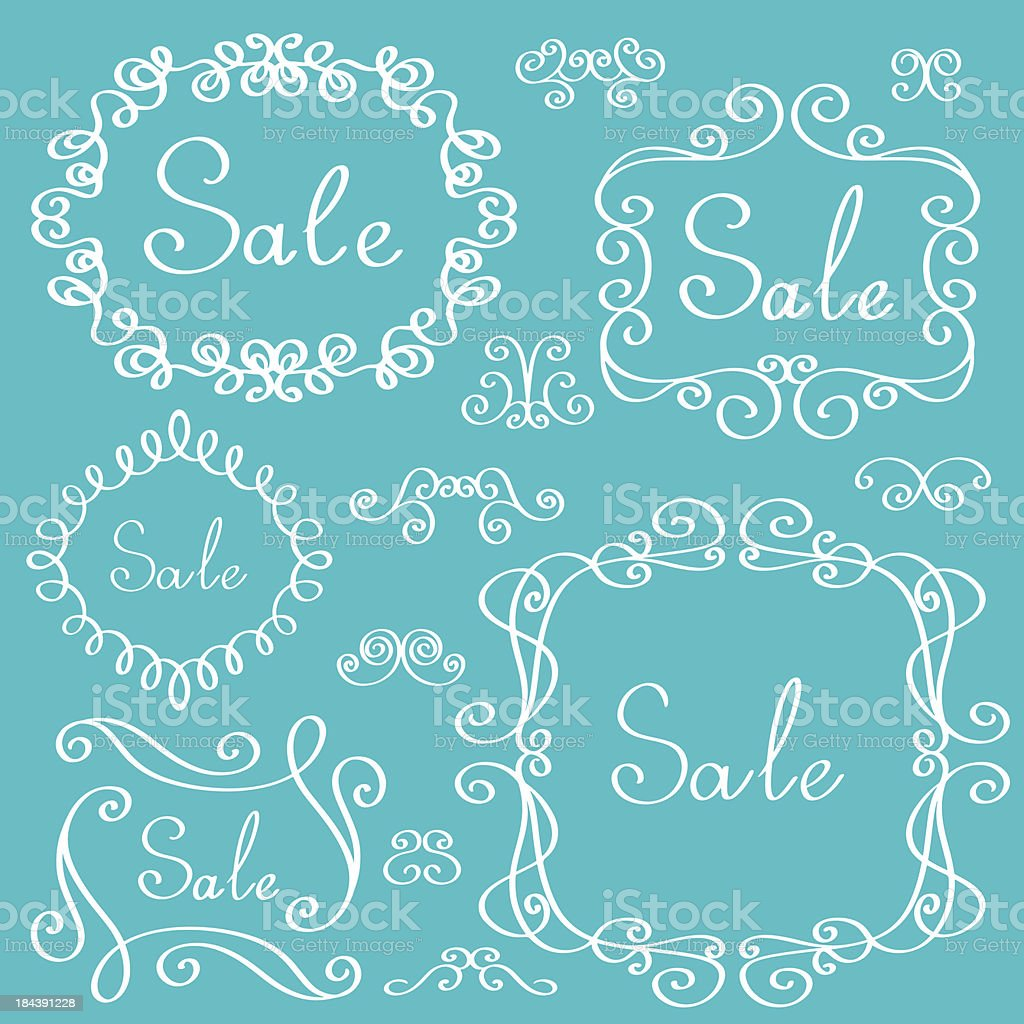 Set of frames, vignettes and text sale royalty-free stock vector art