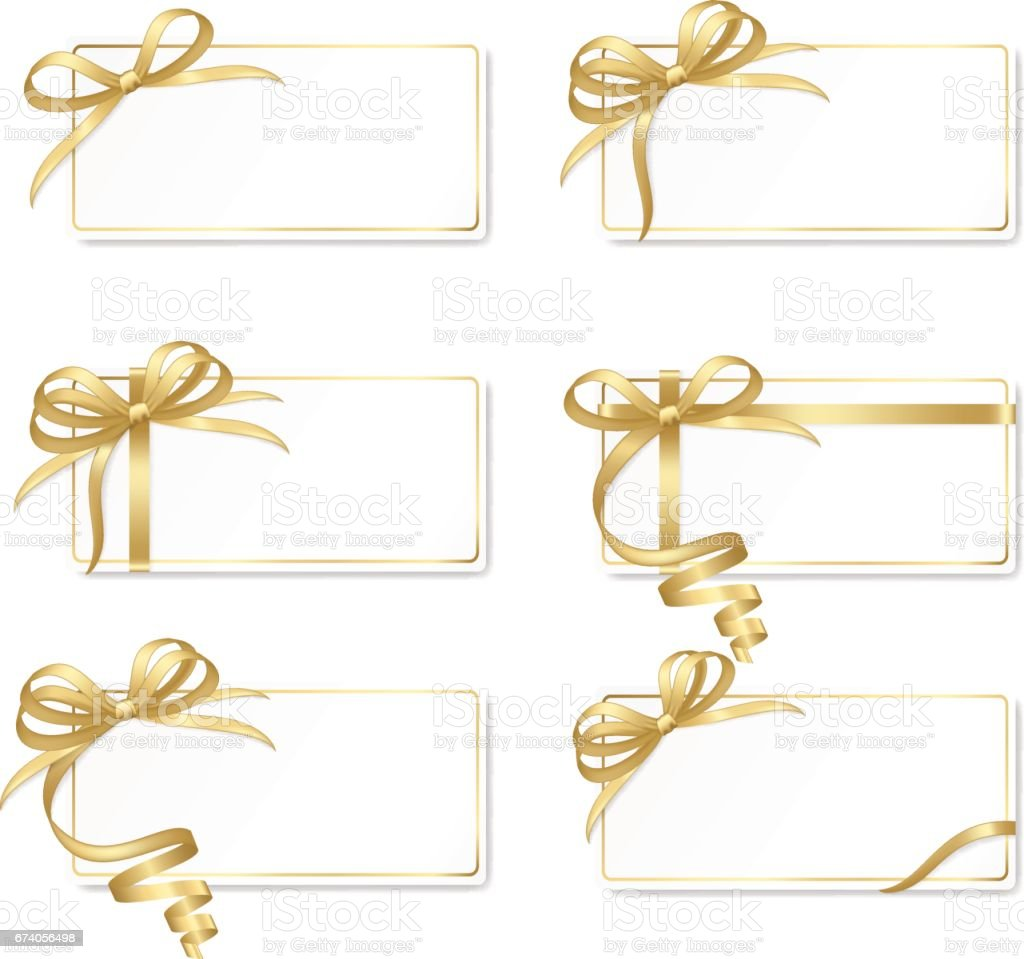 Set of frames (gift cards) with gold bows isolated on background. royalty-free set of frames with gold bows isolated on background stock vector art & more images of abstract