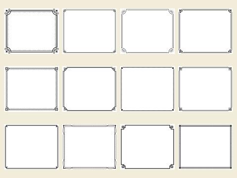 Set of frames with retro style corner decoration
