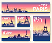 Set of France landscape country ornament travel tour concept. Culture traditional, flyer, magazine, book, poster, abstract, element. Vector decorative ethnic greeting card or invitation design .