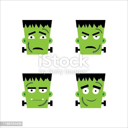 istock Set of frankenstein facial emotions.  Vector illustration in cartoon style 1188434435