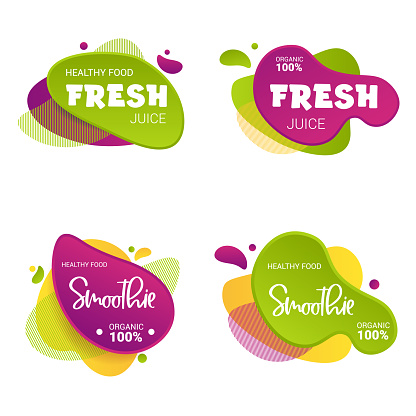 Set of frash and smoothie vector label. Bright and shine stickers, labels, tags and banners. For badges of fresh market, detox, farmers market, eco shop, smoothies drinks, juice cafe, green bar.