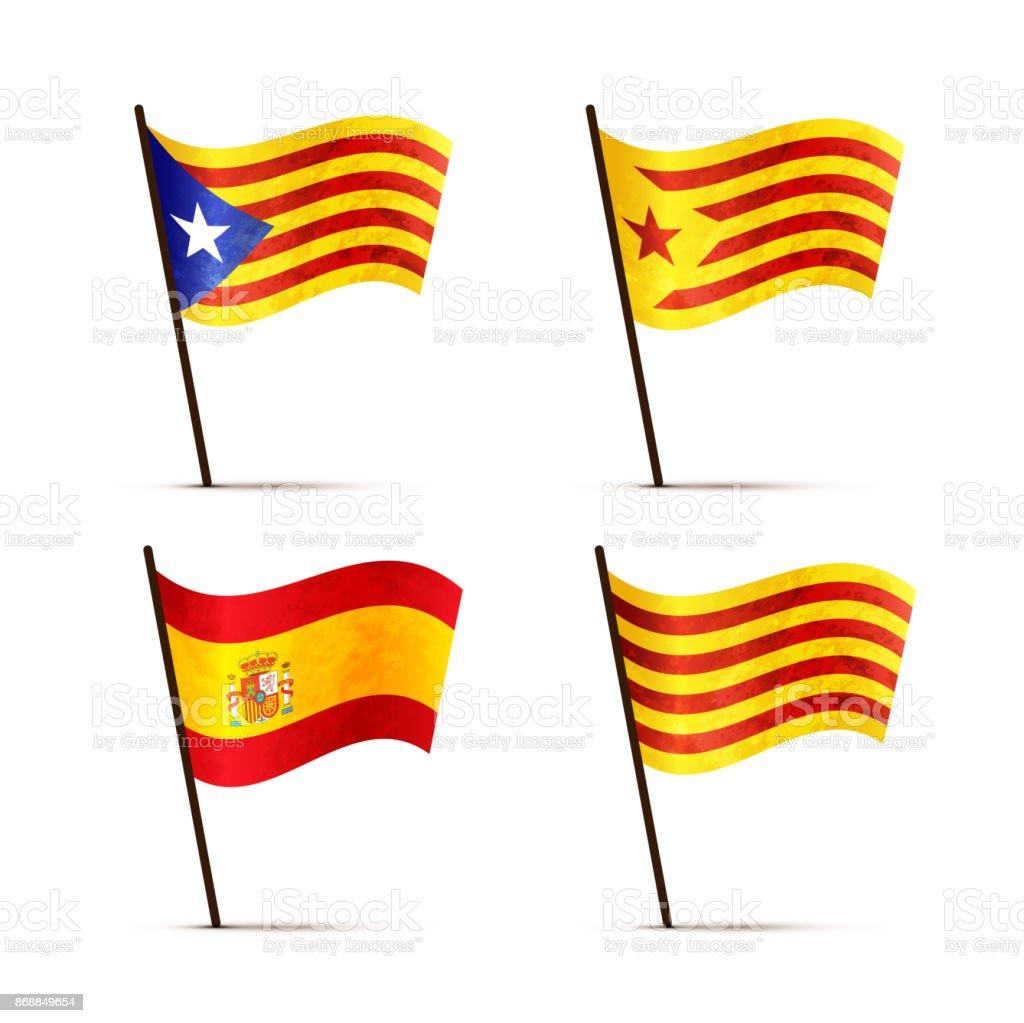 Set of free Catalan, Senyera, Estelada blava and Spain flags on a pole with shadow isolated on white vector art illustration