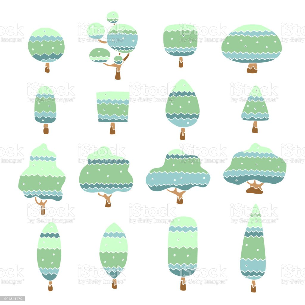 set of free hand drawn trees cartoon character, vector illustration design vector art illustration