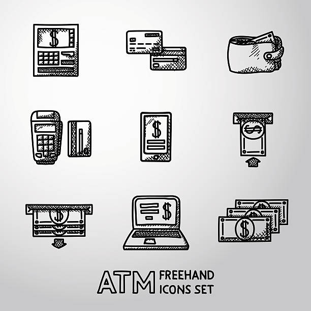 Set of freehand ATM icons with - ATM, cards, wallet vector art illustration