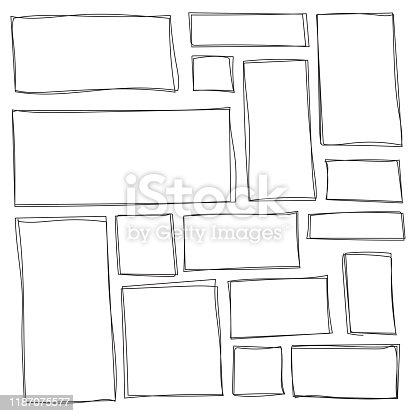 Set of freehand drawn shape.