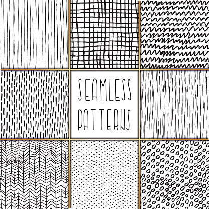 Hand drawn textured doodle seamless pattern set. Dots, lines, circles, squiggles, chevron scribbles. EPS10 vector illustration, global colors, easy to modify.