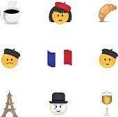 Set of french emoticon