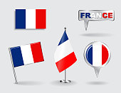 Set of French pin, icon and map pointer flags. Vector illustration.