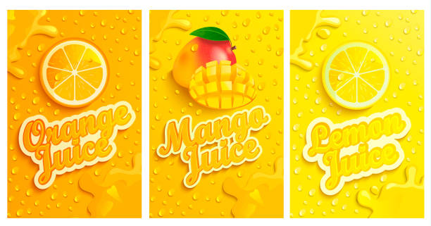 Set of fresh and cold lemon,mango,orange juices. Set of fresh and cold lemon,mango,orange juices with drops from condensation on background, splashing and fruit slices for brand and template,label,emblems,stores,packaging,advertising.Vector mango stock illustrations