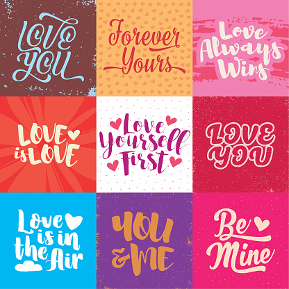 Set of fresh and modern love lettering little greeting cards