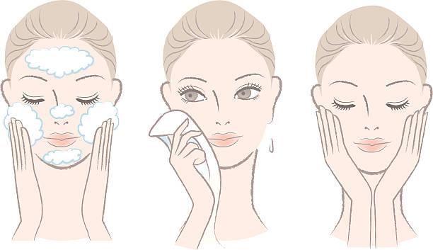 ilustrações, clipart, desenhos animados e ícones de conjunto de fresh mulher bonita em processo para lavando rosto - limpando rosto
