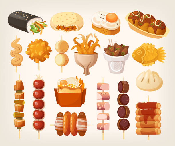 ilustrações de stock, clip art, desenhos animados e ícones de set of fresh delicious fast foods from asian streets. variety of snacks. - tempura