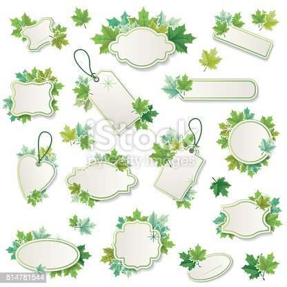 Set Of Fresh Green Spring Sale Tag With Maple Leaves