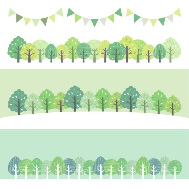 新緑の森のセット - 森点のイラスト素材/クリップアート素材/マンガ素材/アイコン素材