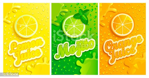 Set of fresh lemon,mojito,orange juices backgrounds with drops from condensation, splashing and fruit slices for brand, template,label,emblems,stores,packaging,advertising.Vector illustration