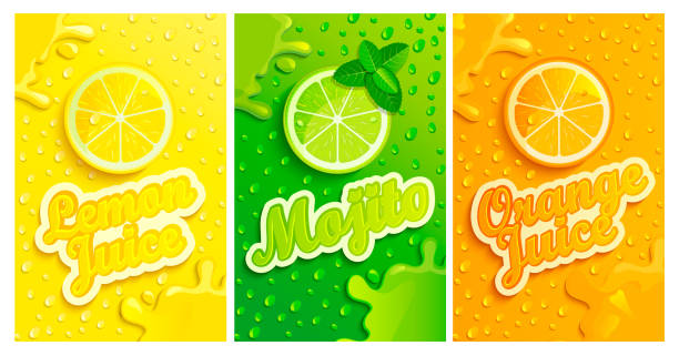 Set of fresh lemon,mojito,orange juices. Set of fresh lemon,mojito,orange juices backgrounds with drops from condensation, splashing and fruit slices for brand, template,label,emblems,stores,packaging,advertising.Vector illustration lemon fruit stock illustrations
