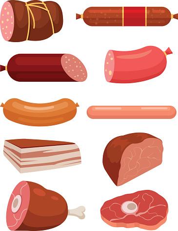 Set of fresh meat. Salami sausages