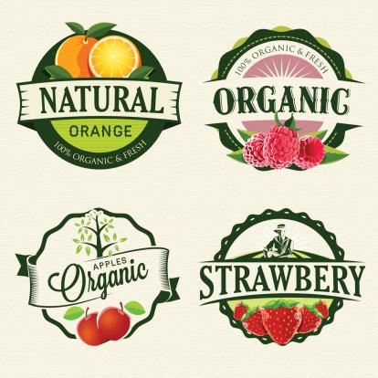 Set of Fresh & Organic labels