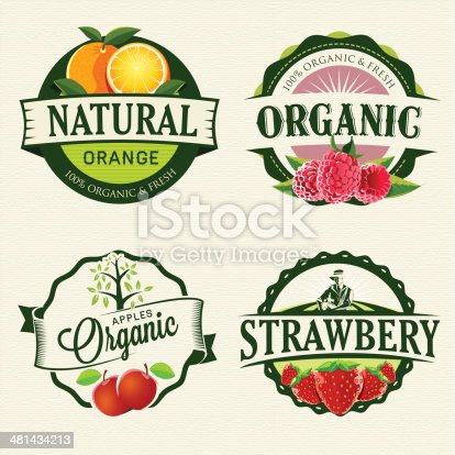 Set of retro Fresh & Organic labels.