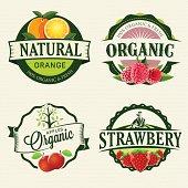 Set of retro Fresh & Organic labels.