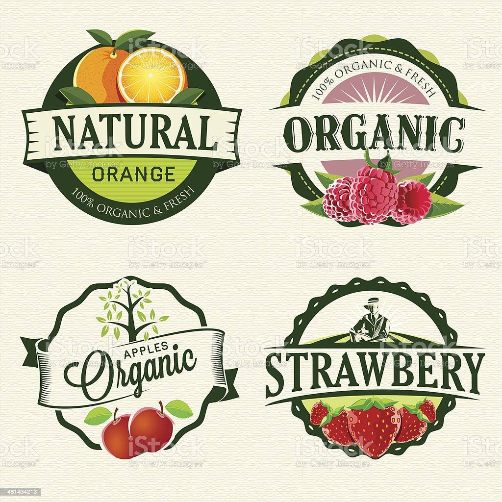 Set of Fresh & Organic labels vector art illustration
