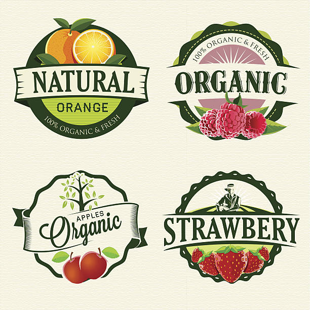 stockillustraties, clipart, cartoons en iconen met set of fresh & organic labels - sapjes