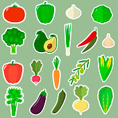 A set of vegetable stickers. Organic Vegetarian Healthy Eating In White Stroke Isolated On A Green Background. Vector, flat design.