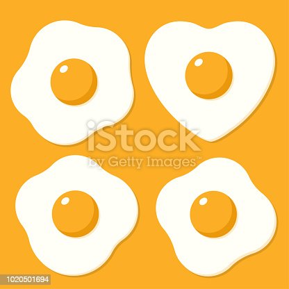 Set of fried eggs. Vector illustrations in cartoon flat style