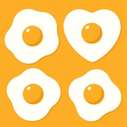 Set Van Gebakken Eieren Vectorillustraties In De Vlakke Stijl Cartoon Stockvectorkunst en meer beelden van Biologisch