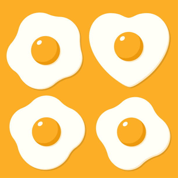 set of fried eggs. vector illustrations in cartoon flat style - breakfast stock illustrations