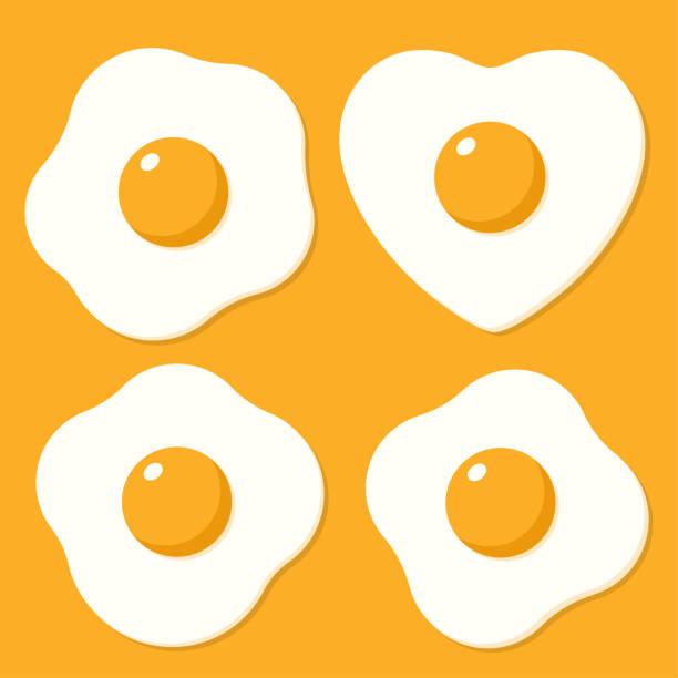 stockillustraties, clipart, cartoons en iconen met set van gebakken eieren. vectorillustraties in de vlakke stijl cartoon - breakfast
