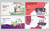 Set of friends chatting and having fun. Flat vector illustrations of tailors sewing dresses. Friendship, party, communication, manufacture concept for banner, website design or landing web page