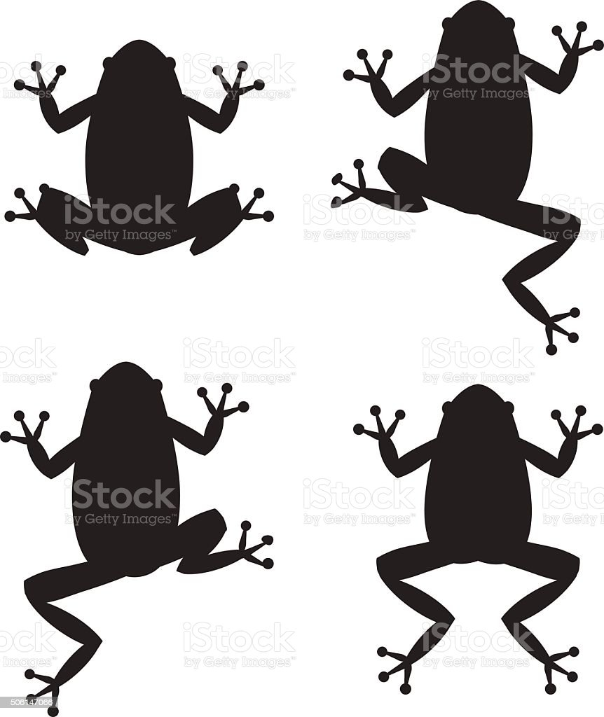 Set of frog silhouettes on white background vector art illustration