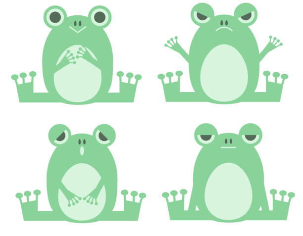 A set of frogs with various expressions vector art illustration