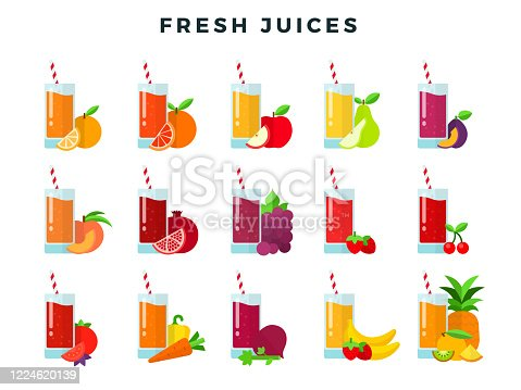 Set of fruit, berries and vegetable juices in glasses with straws vector flat icons isolated on white.
