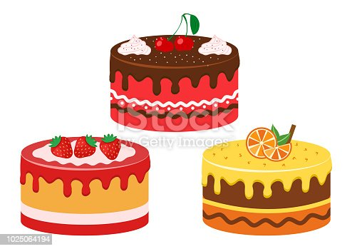 Set of fruit cakes. Strawberry, cherry and citrus. Vector illustration