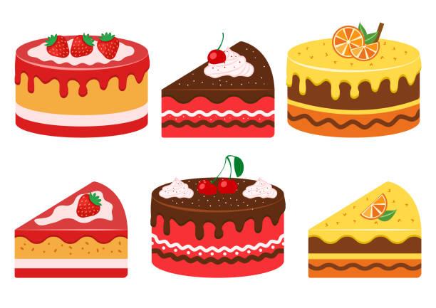 ilustrações de stock, clip art, desenhos animados e ícones de set of fruit cakes, whole and slice. strawberry, cherry and citrus. vector illustration - inteiro