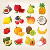 Set of common and exotic fruit icons. Collection of colorful vector images