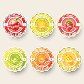 Set of orange, lemon, strawberry, kiwi, apple, mango juice,smoothie, milk, cocktail and fresh labels splash. sticker, adverstisement concept vector illustration.