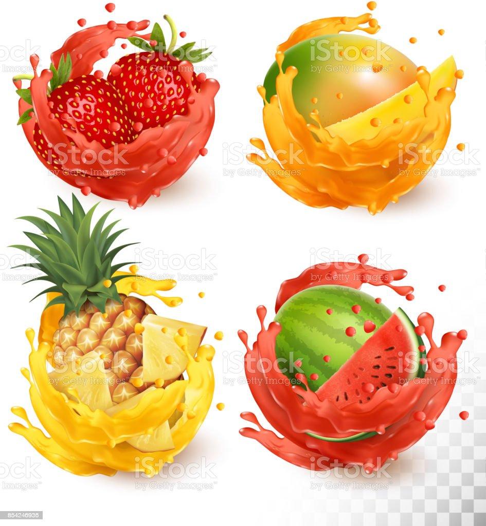 Set of fruit juice splash. Mango, strawberry, watermelon, pineapple, Vector vector art illustration