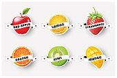 Set of orange, lemon, strawberry, kiwi, apple, mango juice,smoothie, milk, cocktail and fresh label with ribbon, sticker, advertisement concept vector illustration