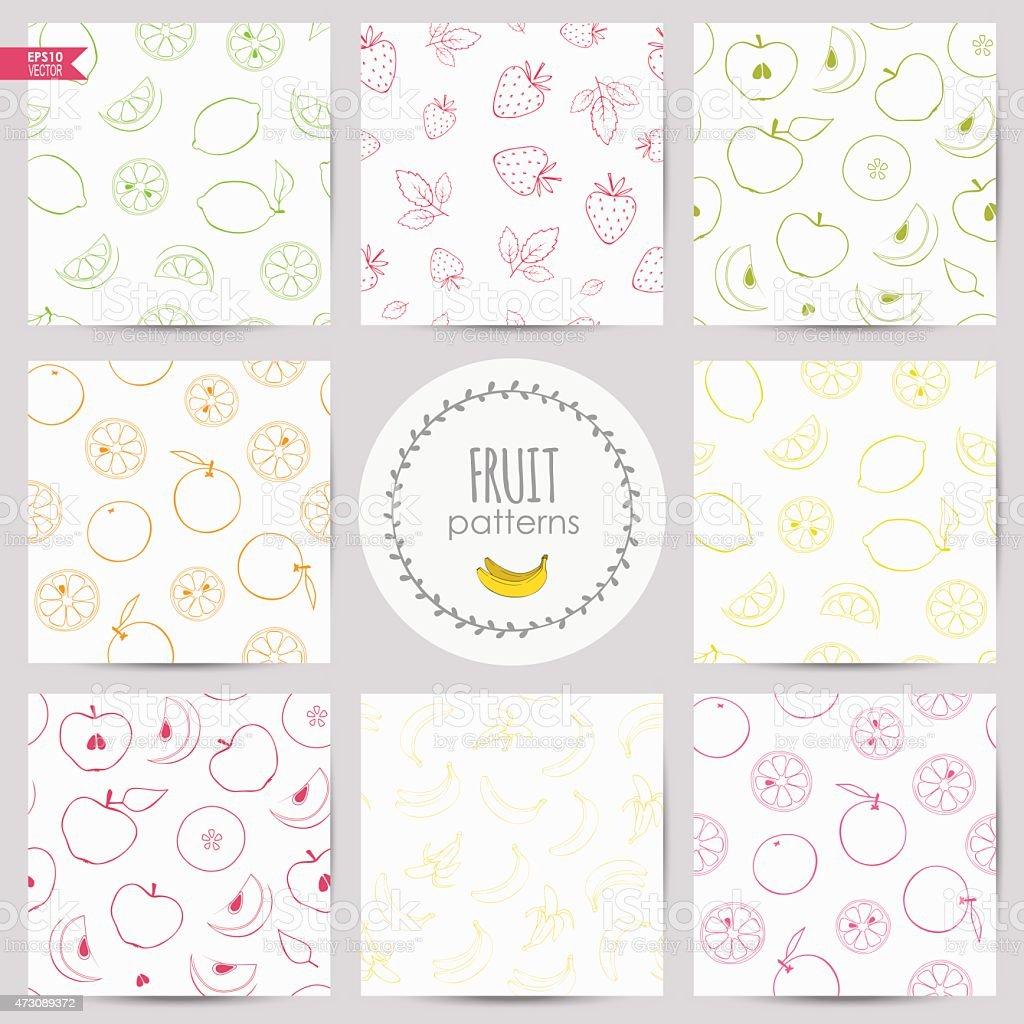 set of fruit patterns