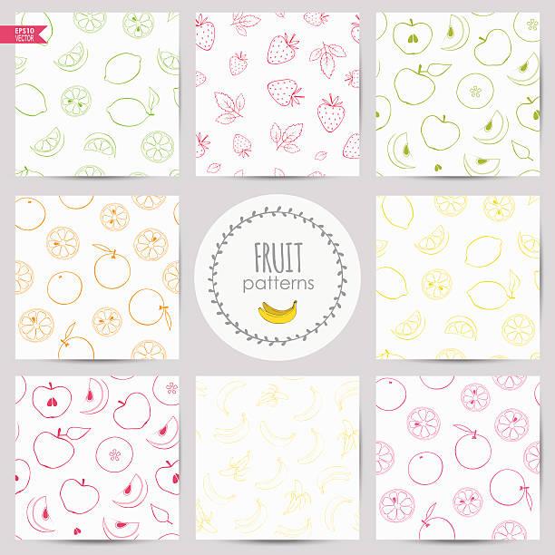 set of fruit patterns set of linear patterns with fruits: apple, banana, orange, lime, lemon, grapefruit, strawberry banana drawings stock illustrations