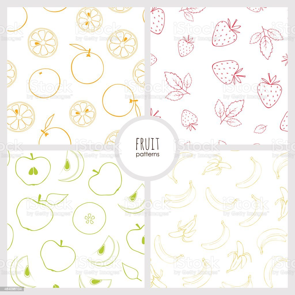 set of fruit patterns vector art illustration