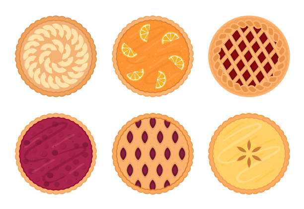 Set of fruit pies. Isolated on white background. Set of fruit pies. Isolated on white background. Vector illustration. pastry dough stock illustrations