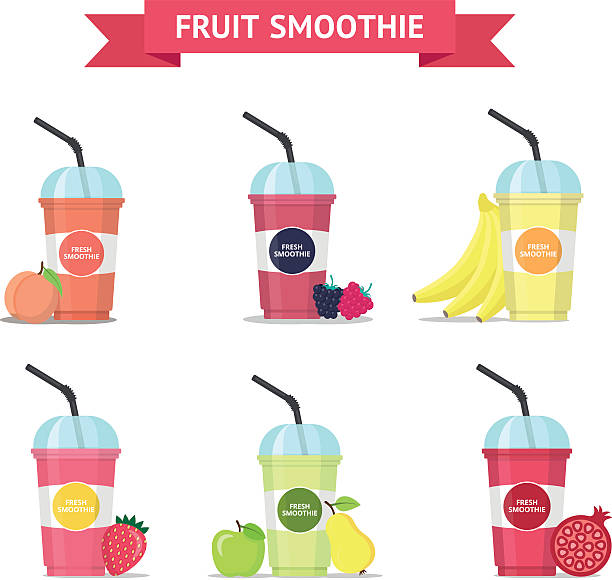 Set Of Fruit Smoothie In A Cups Vector Art Illustration