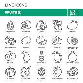 Set of fruit thin line icons in alphabetical order. Fruit symbols, labels, emblems. Vector illustration. Part 2.