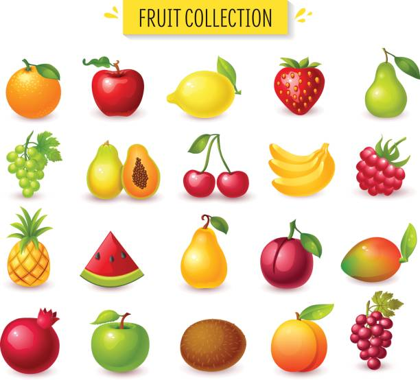 set of fruits and berries. - fruit stock illustrations, clip art, cartoons, & icons