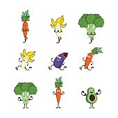 Set of vegetables doing sport -avocado, carrot, banana, eggplant, broccoli, cartoon vector illustration isolated on white background. Cute and focused vegetable characters. vector illustration